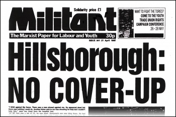 Front page of the Militant newspaper after Hillsborough