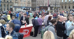 Socialist Party Scotland stall in George Square.