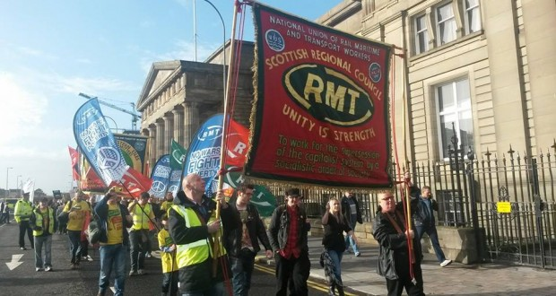 RMT members marching on the STUC demo on October 18