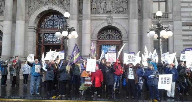 Protest outside Glasgow Council against cuts to mental health services