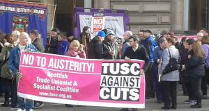 Today's protest outside Glasgow council meeting