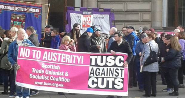 Protest outside Glasgow council meeting
