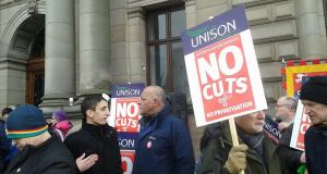 No Cuts lobby of Glasgow City Council