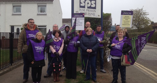 Unison strikers picketing at Barlinnie Prison