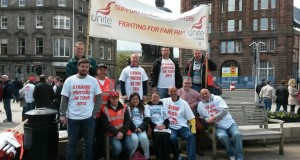 United in action; Striking porters with Glasgow homelessness caseworkers
