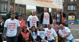 United in struggle: Dundee porters and Glasgow Homlessness caseworkers after the May Day demo in Dundee