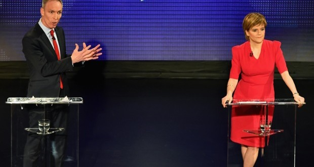 The SNP's Nicola Sturgeon and Labour's Jim Murphy during a TV debate