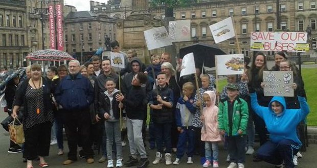 Parents protesting outside the Glasgow City Council HQ