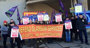 Demanding an end to cuts at the Scottish parliament
