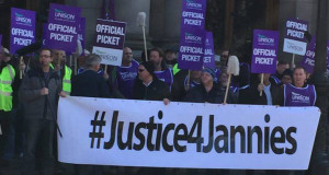Striking Glasgow janitors lobbying the STUC conference in April