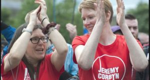 Corbyn supporters at the Durham miners gala. Photo: Paul Mattson