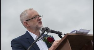 Jeremy Corbyn speaking at the Durham miners' gala. Picture Paul Mattson
