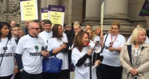 150 workers protested today against the threat of privatisation