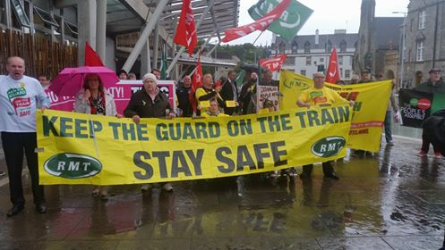 RMT protest at the Scottish parliament