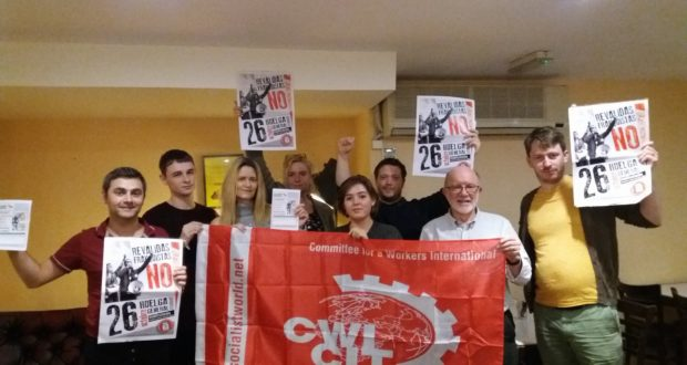 Socialist Party Scotland members in Glasgow supporting the students in Spain