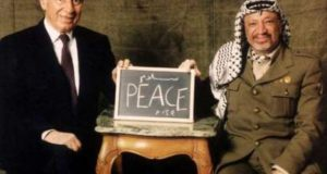 Shimon Peres and the PLO leaflet Yasser Arafat. No peace or justice for the Palestinans, almost 30 years after the Oslo Accords.