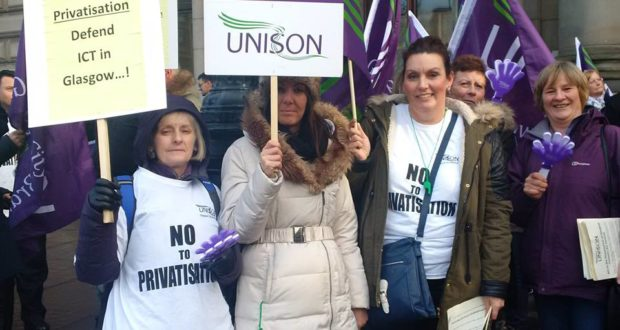 Unison members striking against ICT privatisation